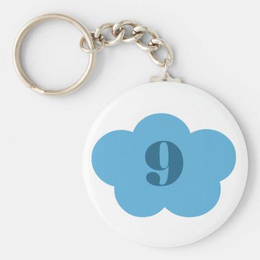 Llavero azul de la nube 9