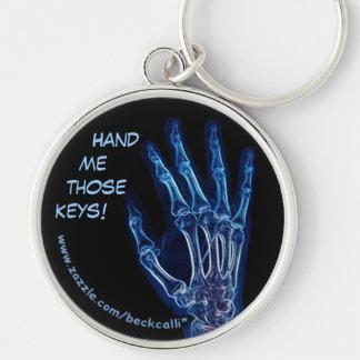 Llavero azul de la radiografía de la mano