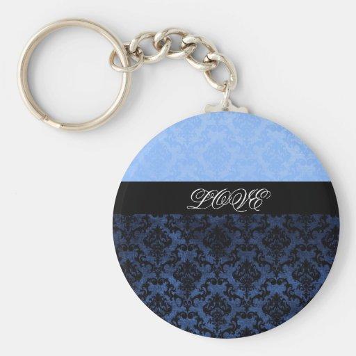Llavero azul de lujo del monograma del damasco