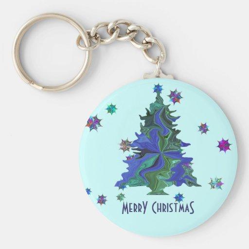 Llavero azul del árbol de navidad