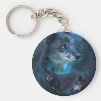 Llavero azul del arte del lobo