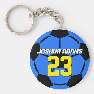 Llavero azul del balón de fútbol de equipo de