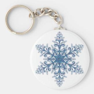 Llavero azul del copo de nieve