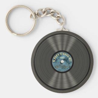 Llavero (azul) del disco de vinilo del vintage