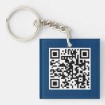 Llavero azul del personalizado del CÓDIGO de QR