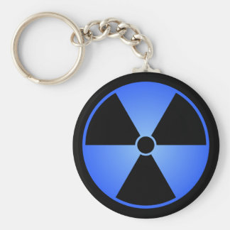 Llavero azul del símbolo de la radiación