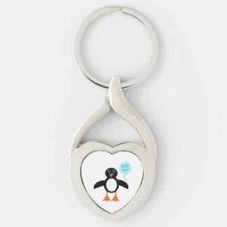 Llavero azul lindo del pingüino del bebé llavero plateado en forma de corazón