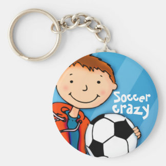 Llavero azul loco del fútbol de los niños de los d