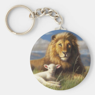 Llavero básico del botón del león y del cordero