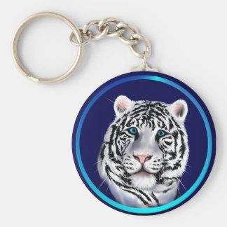 Llavero blanco de la cara del tigre