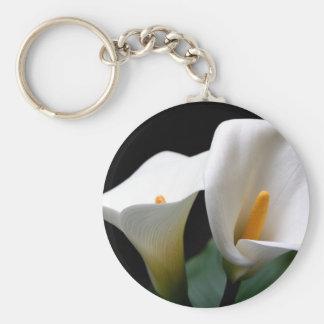 Llavero blanco de la flor de la cala