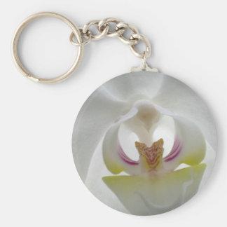 Llavero blanco de la orquídea