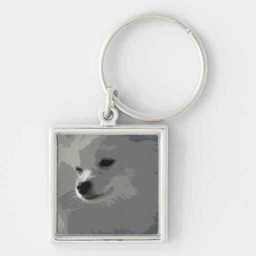 Llavero blanco de Pomeranian