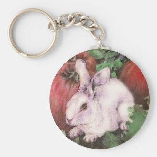 Llavero blanco del conejo