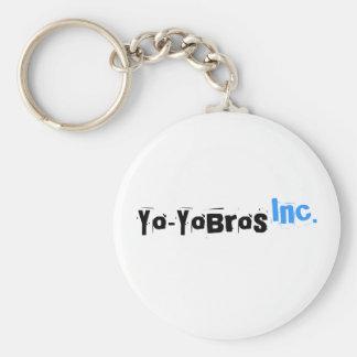 Llavero blanco del logotipo de Yo-YoBros, Inc.