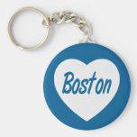 Llavero blanco del viaje del corazón de Boston mA