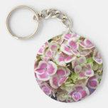 Llavero blanco rosado de los pétalos del Hydrangea