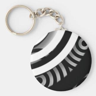 Llavero blanco y negro abstracto