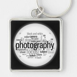 Llavero blanco y negro de la mazarota de la fotogr