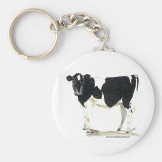 llavero blanco y negro de la vaca