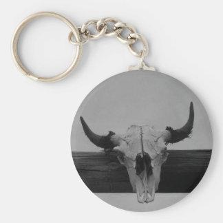 Llavero blanco y negro del cráneo de la vaca
