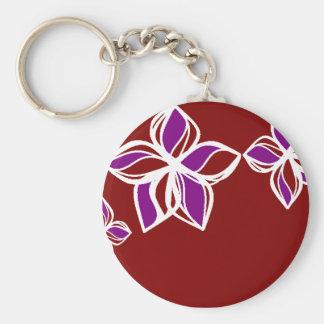 Llavero blanco y púrpura rojo de la flor