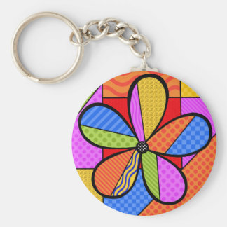 Llavero caprichoso de la flor del cubismo con el f