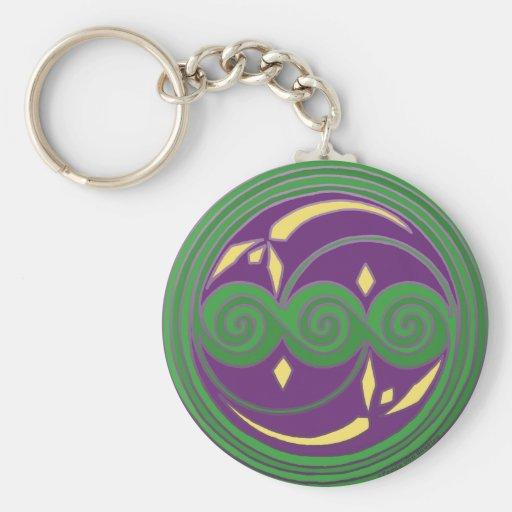 Llavero céltico, diseño espiral en verde y púrpura