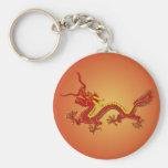 Llavero chino del dragón del rojo y del oro