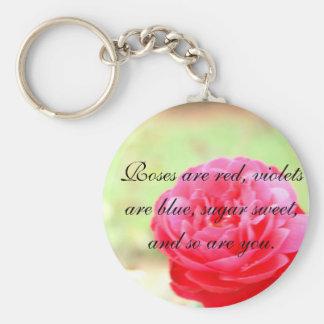 Llavero color de rosa del poema