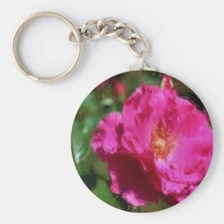 Llavero color de rosa rosado de la flor del dibujo