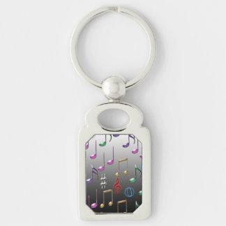 Llavero colorido del modelo de las notas musicales llavero plateado rectangular
