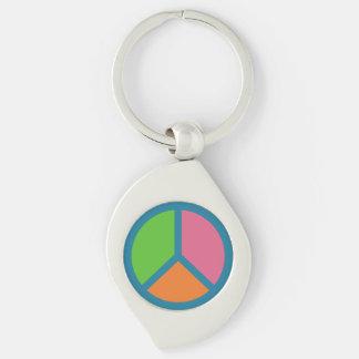 Llavero colorido del signo de la paz llavero plateado en forma de espiral