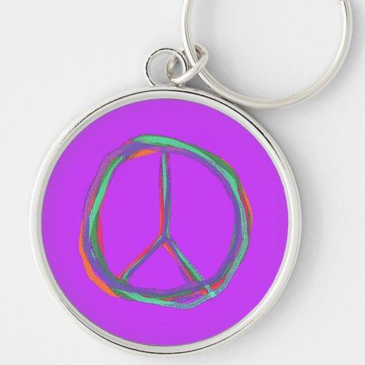 Llavero colorido del símbolo de paz