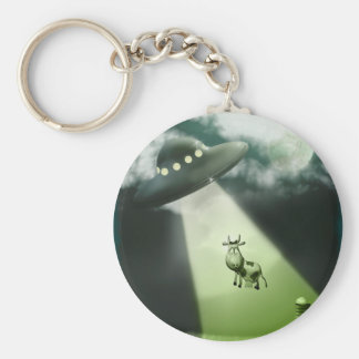 Llavero cómico de la abducción de la vaca del UFO