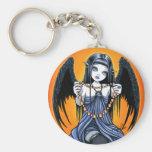 Llavero con alas cuervo gótico del arte del ángel