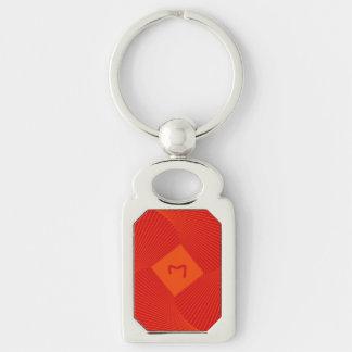 Llavero con diseño geométrico cuadrado anaranjado llavero plateado rectangular