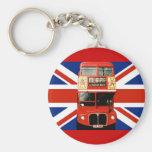 Llavero con el autobús y la bandera británica
