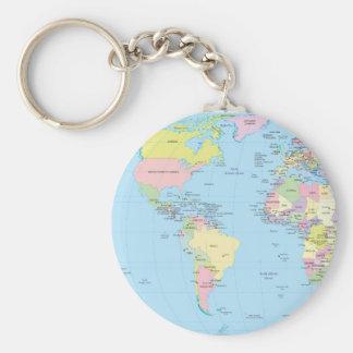 Llavero con el mapa del mundo