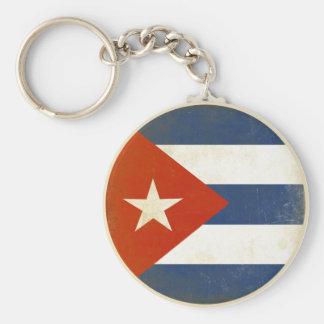 Llavero con la bandera apenada del vintage de Cuba