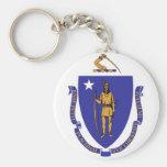 Llavero con la bandera del estado de Massachusetts