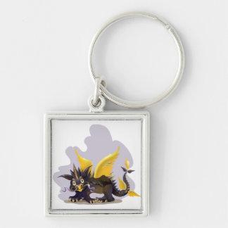 Llavero con la imagen negra divertida del dragón