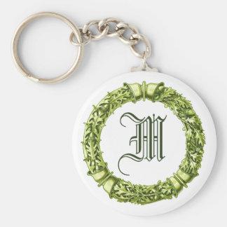 Llavero con monograma de la guirnalda verde