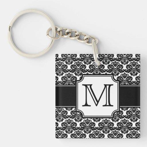 Llavero con monograma de moda del damasco