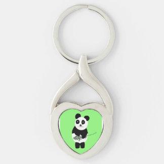 Llavero, corazón-forma con el oso de panda llavero plateado en forma de corazón