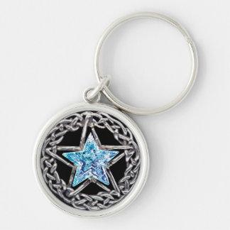 Llavero cristalino de la estrella del Pentagram
