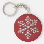 Llavero cristalino del copo de nieve (rojo)