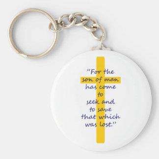 Llavero cristiano cruzado del oro