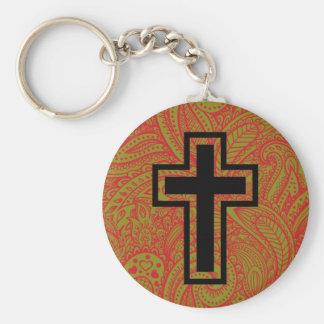Llavero cruzado cristiano santo negro del