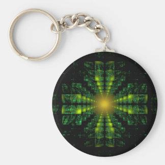 Llavero cruzado cuadrado verde del fractal